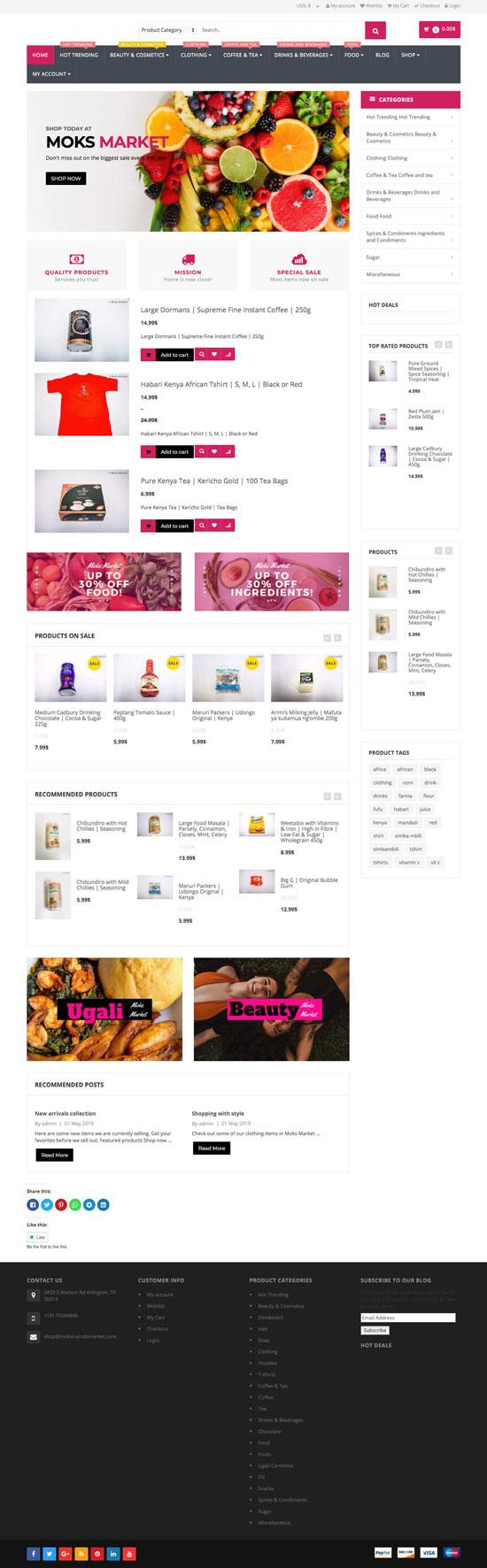 Moks Market website screenshot