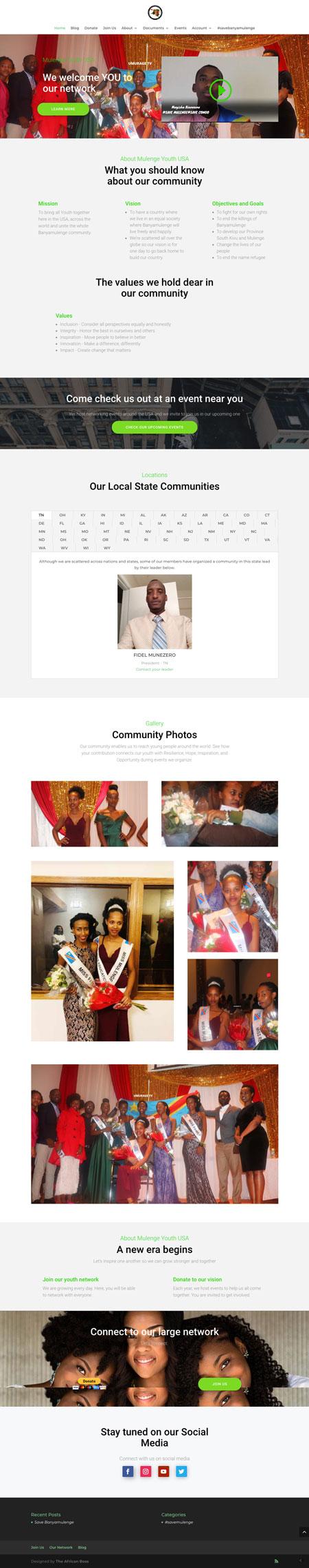 Mulenge Youth website screenshot