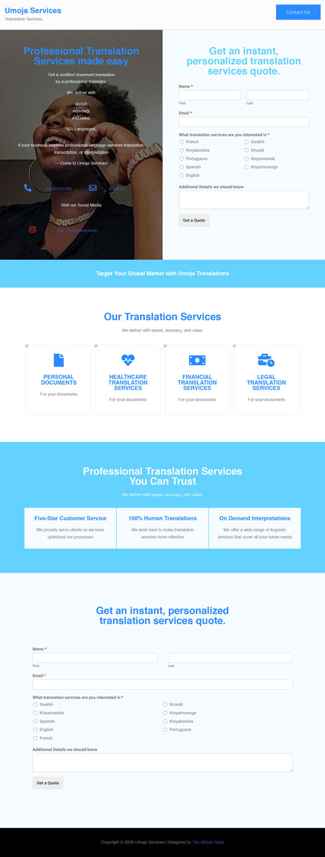 Umoja Services website screenshot