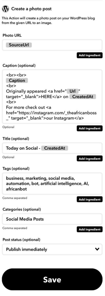 Instagram to wordpress IFTTT