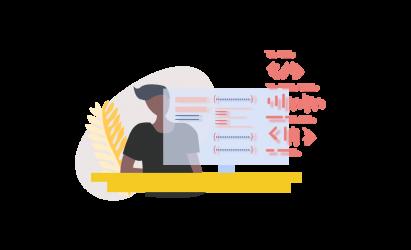 man Coding on computer